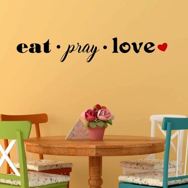 Eat Pray Love with Red Heart Vinyl Wall Decal