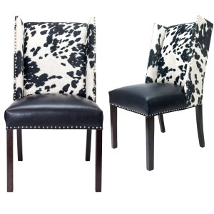 Sole Designs Rexford Wingback Leather Upholstery w/ Nailhead Trim Tapered Legs Dining Chairs, Set Of 2, Black/Espresso