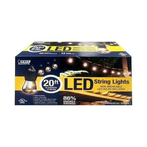 FEIT Electric  LED Lantern  Light String  Clear  20 ft. L