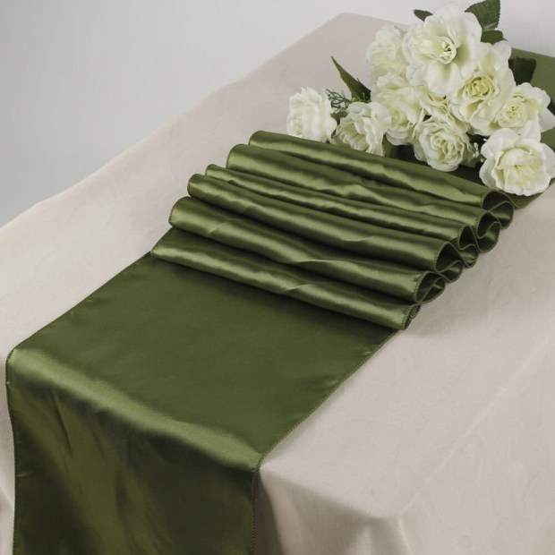 Pack Of 10 Olive Green Wedding 12 x 108 Satin Table Runner For Wedding Banquet
