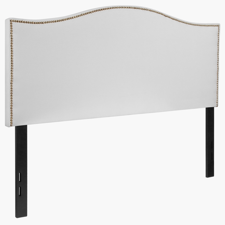 regal full size white fabric headboard with nailhead trim