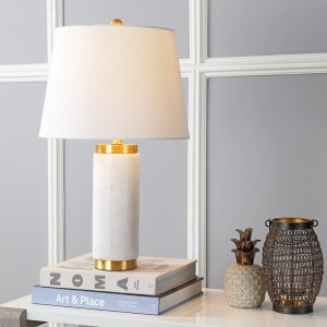 "Adams 23"" Marble LED Table Lamp, White/Brass by JONATHAN  Y"