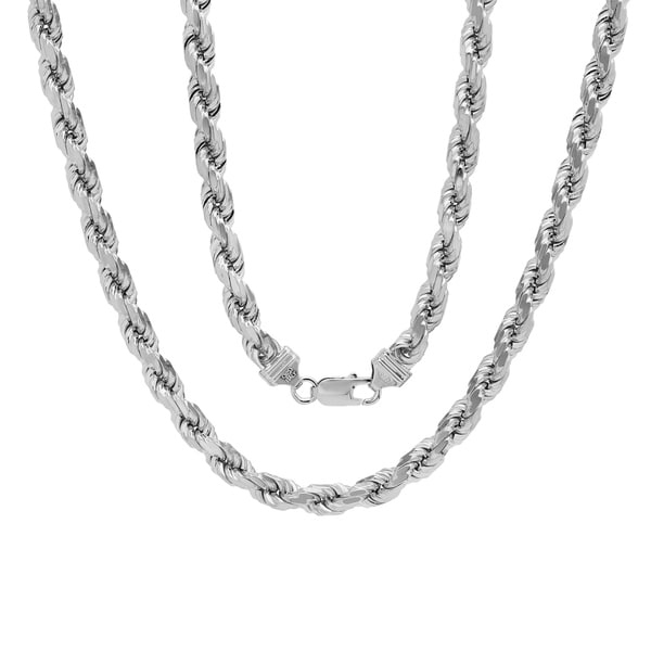 Shop Sterling Silver Italian 7 mm Rope Chain (20-30 Inch