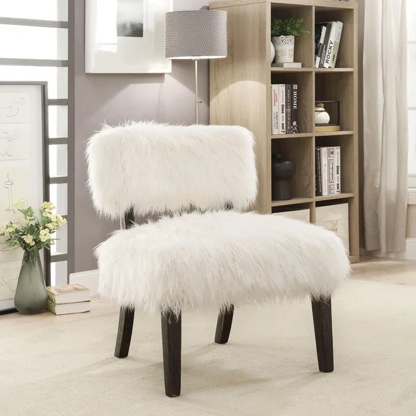 swivel chair em portugues office price philippines shop furniture of america lana contemporary faux fur accent
