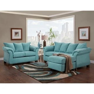 microfiber living room furniture 5x7 area rug in buy sets online at overstock com norris sensations capri pillow back sofa w chaise and loveseat set