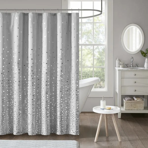 Shop Intelligent Design Liv Grey Silver Printed Shower Curtain  On Sale  Free Shipping On