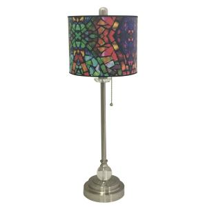 Royal Designs Brushed Nickel Lamp with Mosaic Stained Glass Design Lamp Shade