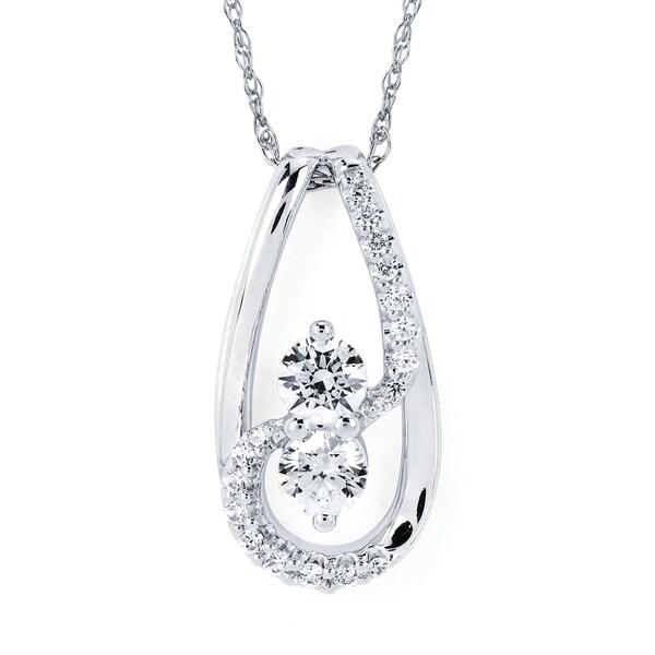 Shop 14k White Gold 1/2 Cttw. Diamond Tear drop Pendant
