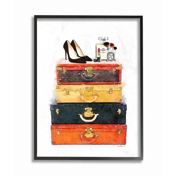 Shop Stupell Industries Luggage Stack Shoes And Makeup