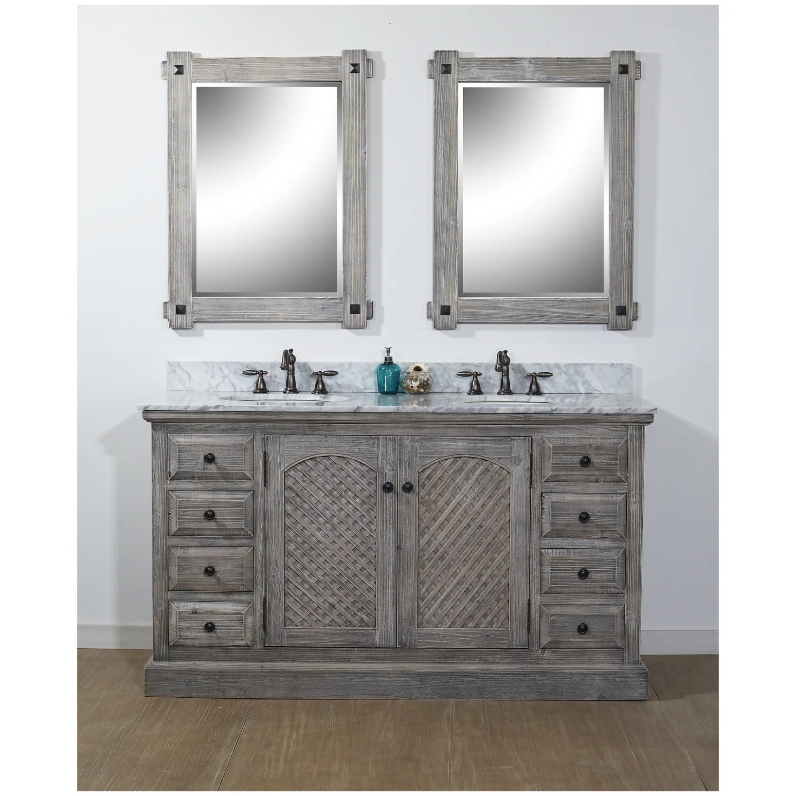 61 rustic solid fir double sink vanity in grey finish with carrara white marble top no faucet