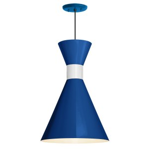 Troy RLM Lighting Mid Century 10-inch Pendant, Blue Shade - Gloss White Center Adapter