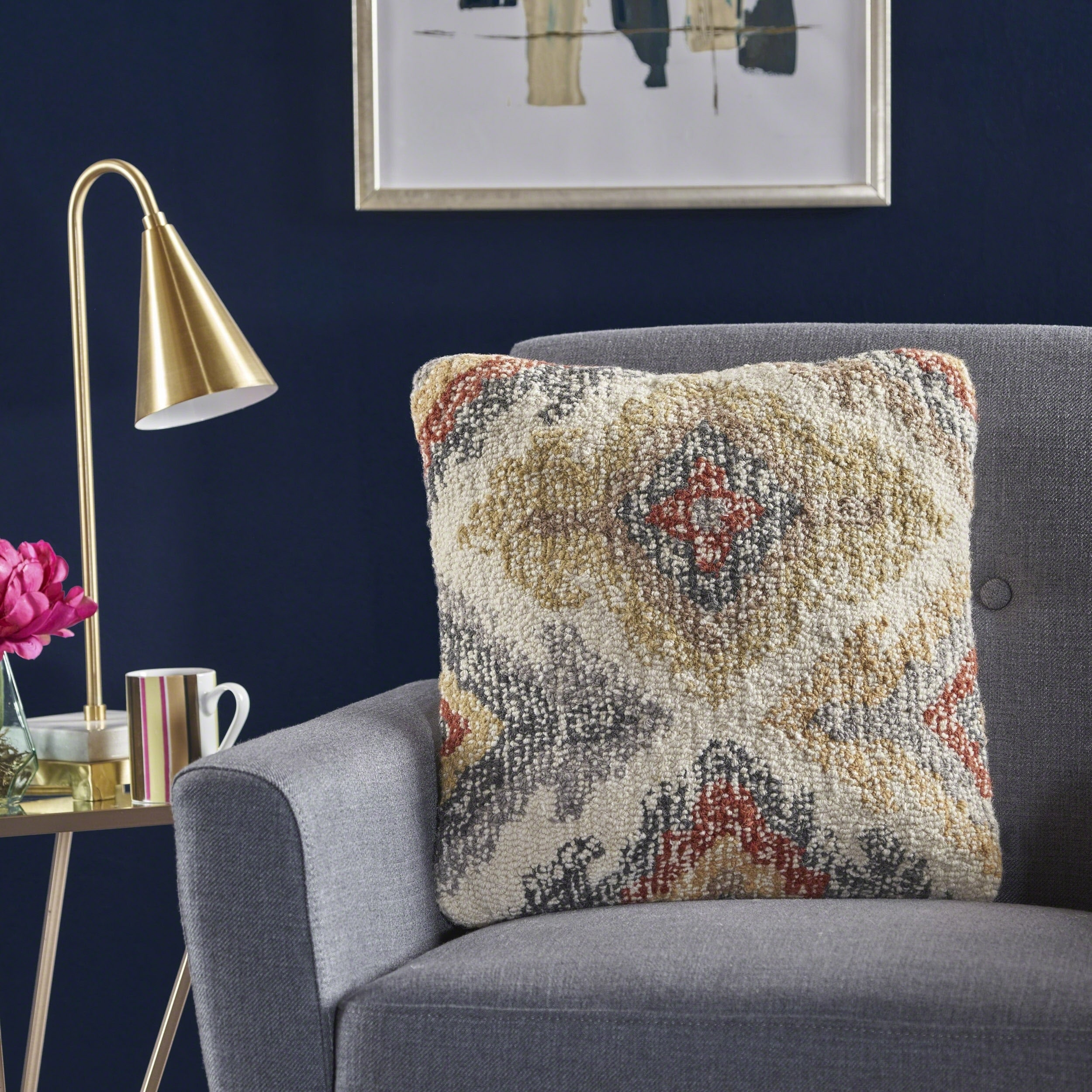 Parinas Square Multi Wool Pillow by Christopher Knight Home