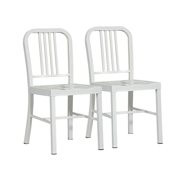 Shop Althea White Metal Dining Chair Set of 2  On Sale