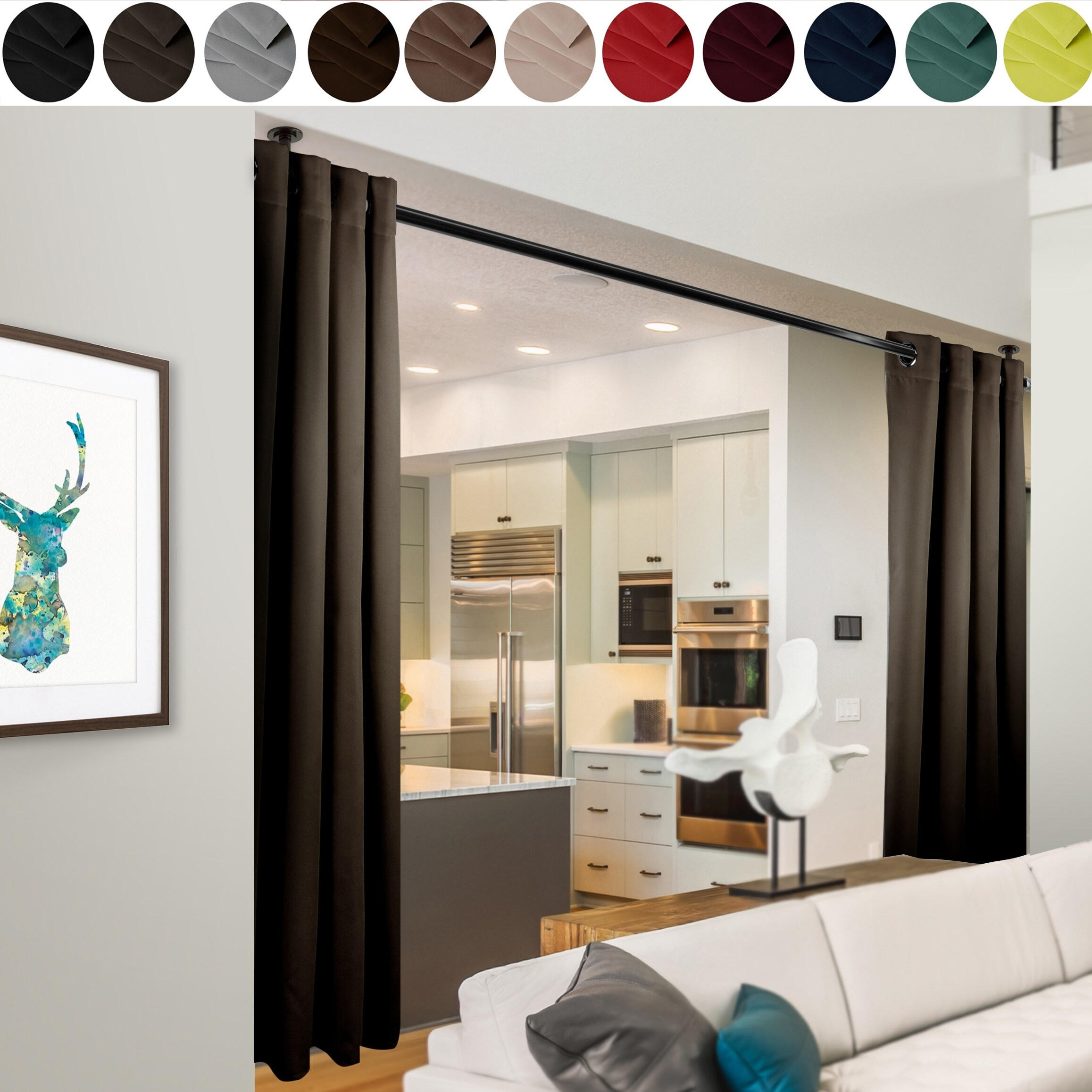 instyledesign 96 h room divider curtain with grommet 1 panel