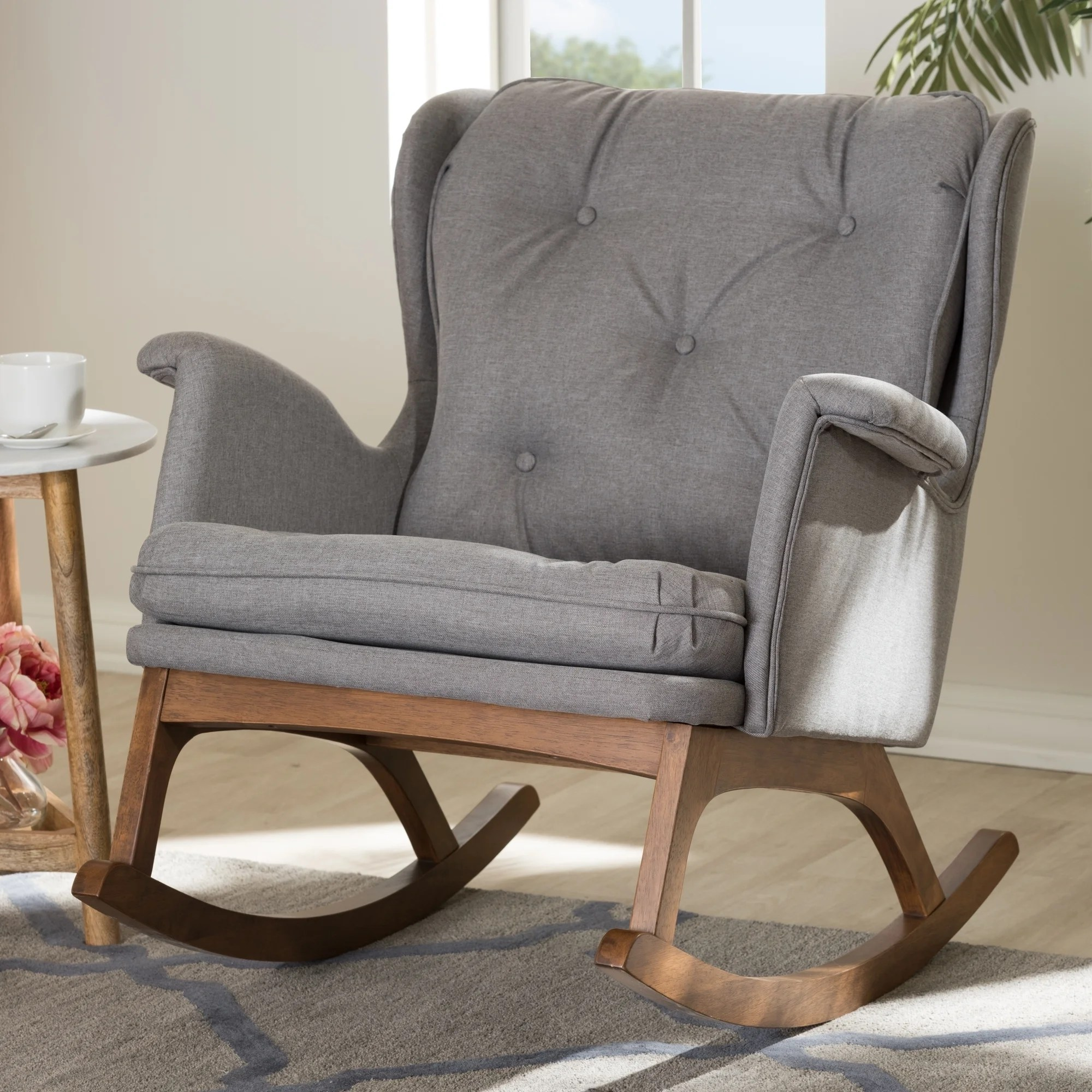 Mid Century Fabric Rocking Chair By Baxton Studio Overstock 20309022