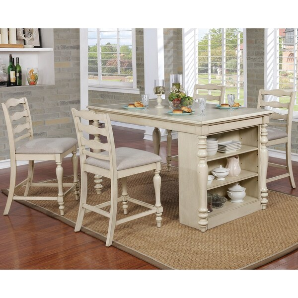 kitchen island set rustic faucets shop furniture of america jeanine antique white 5 piece farmhouse with built