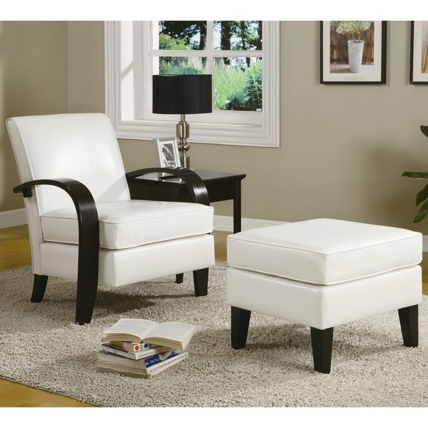brooklyn bonded leather lounger chair and ottoman baby trend high target shop copper grove jessup white accent arm with