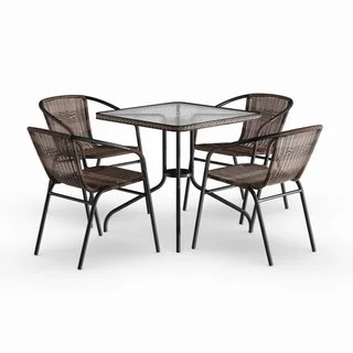 metal patio chair dining room chairs sets brown furniture find great outdoor seating havenside home bellport 5 piece square glass table with rattan set