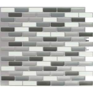 Peel and Impress  Vinyl  Adhesive Wall Tile  9.3 in. W x 11 in. L Glass Grey Oblong  4 pk