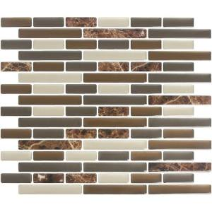 Peel and Impress  Vinyl  Adhesive Wall Tile  9.3 in. W x 11 in. L Mixed Brown Marble  4 pk
