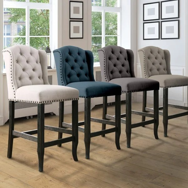 counter height chair wooden skull shop furniture of america telara contemporary tufted wingback 24 inch set