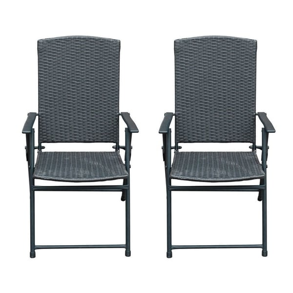 black metal folding garden chairs rental and tables shop sunlife resin wicker rattan patio indoor modern furniture set 2 pairs
