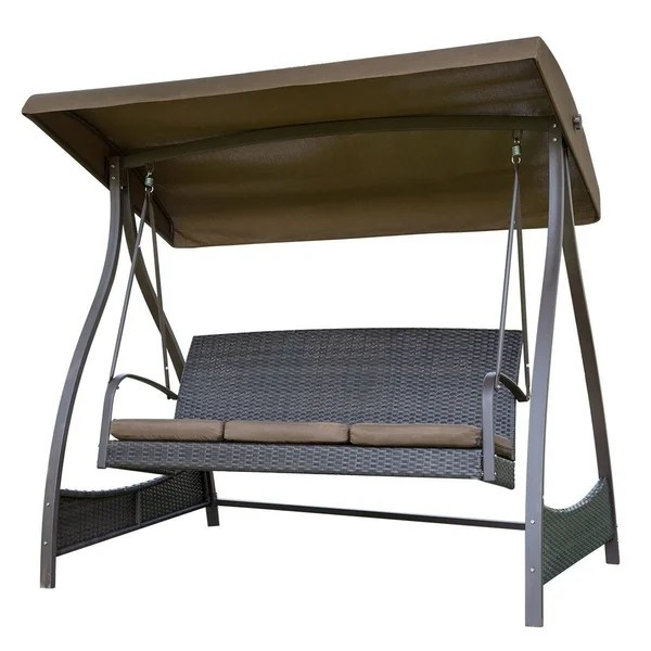 hammock chair with canopy fabric computer shop sunlife porch lawn glider swing 3 seat arc stand steel frame