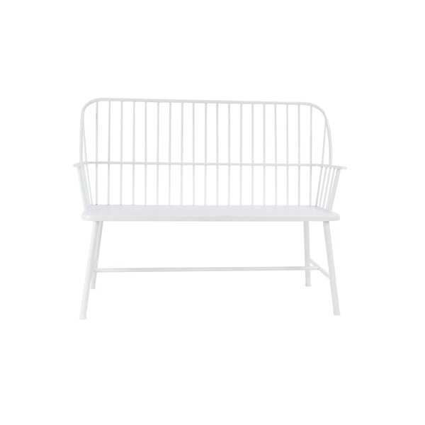 Shop Traditional 38 x 48 Inch White Iron Patio Bench