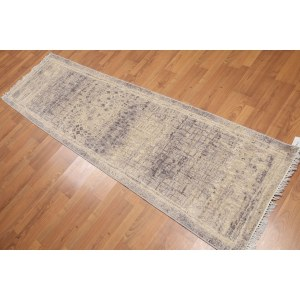 Modern Abstract Runner Hand Knotted Area Rug - Multi