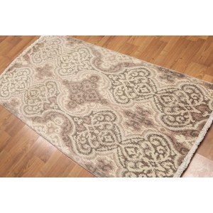 Damask Design Oriental Hand Knotted Area Rug - Multi