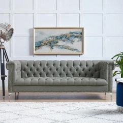 Y Sofa Small Black And Grey Corner Shop Manchester Pu Leather Button Tufted Nail Head Trim With Legs