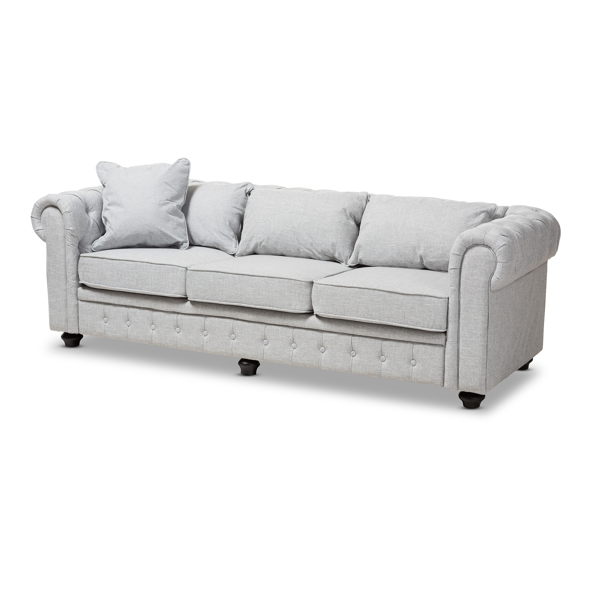 gray linen chesterfield sofa disney cars flip open grey ac pacific juliet traditional