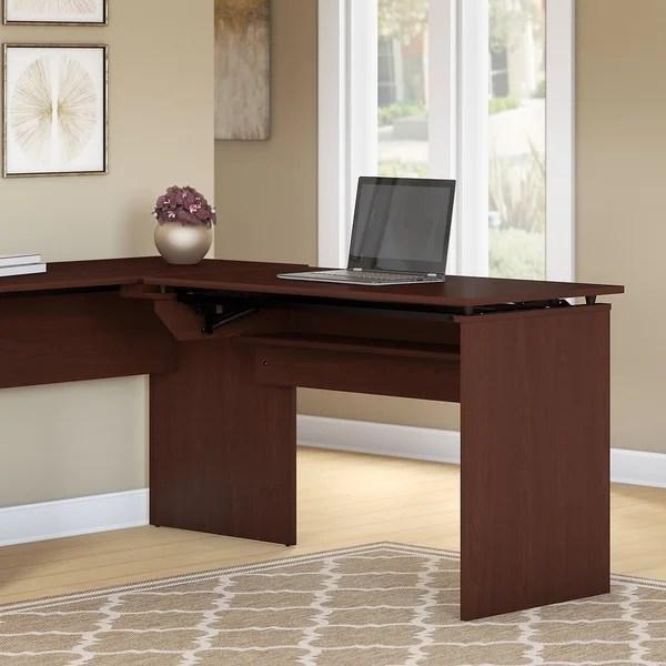 Shop Bush Furniture Cabot 42W 3 Position Sit To Stand Desk Return In Harvest Cherry On Sale