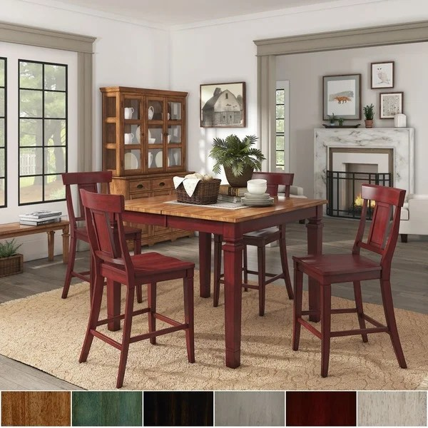 red counter height dining chairs plastic andronik shop elena berry extendable set with panel back by inspire q classic