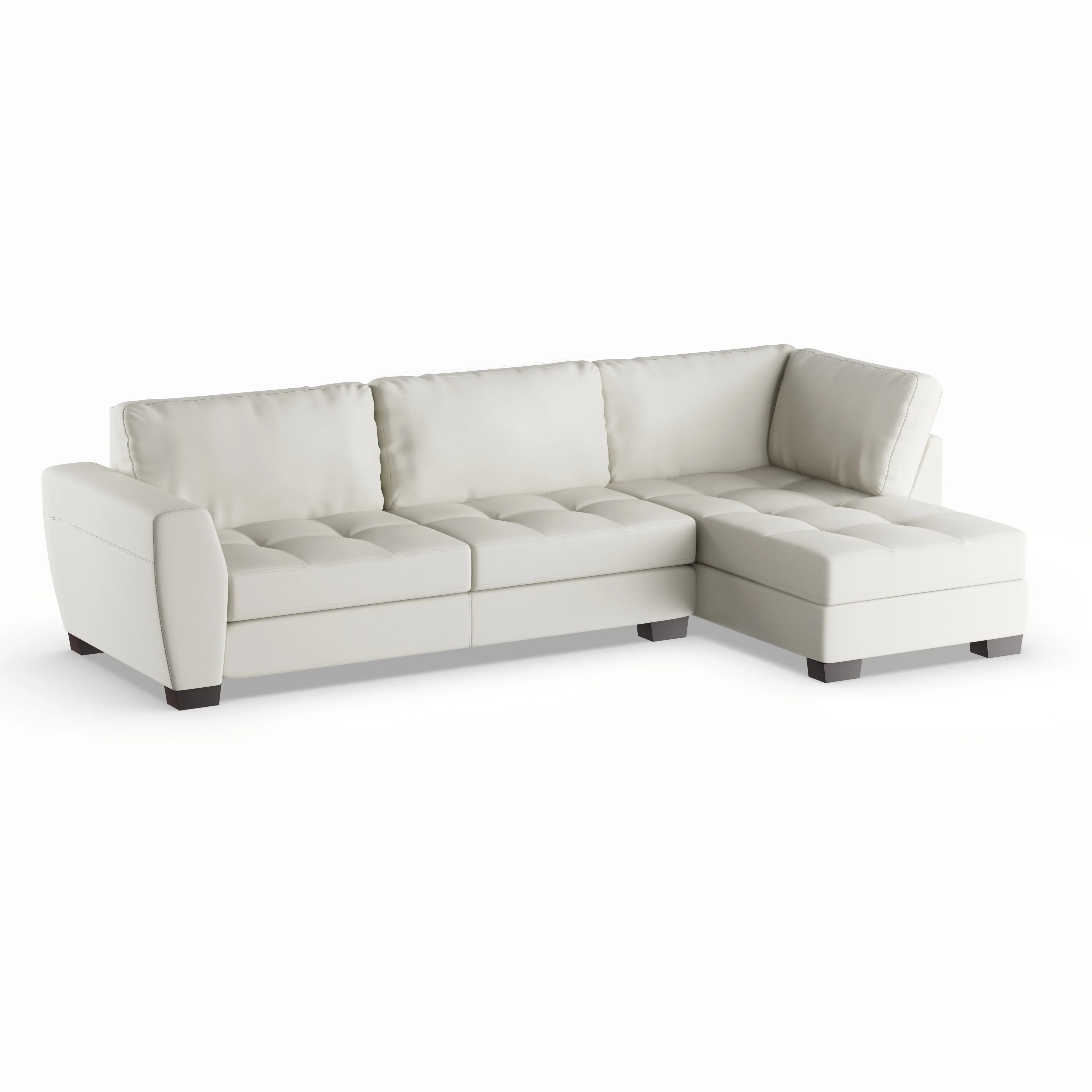 Strick Bolton Milles White Leather Modern Sectional Sofa Set With Right Facing Chaise