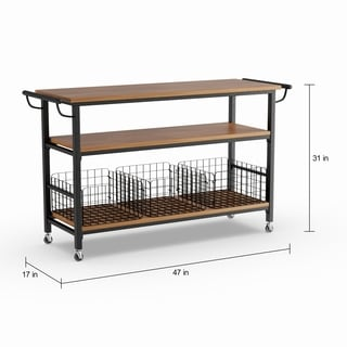 rolling cart for kitchen oak island buy carts online at overstock com our best carbon loft leslie metal frame rustic with wood tabletops and shelves