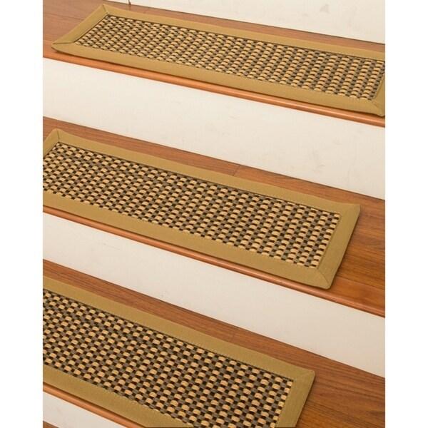 Shop Naturalarearugs Seaside Carpet Stair Treads Set Of 13   Custom Carpet Stair Treads   Bullnose Carpet   Oak Valley   Dog Assist   Braided Rug   Anti Slip