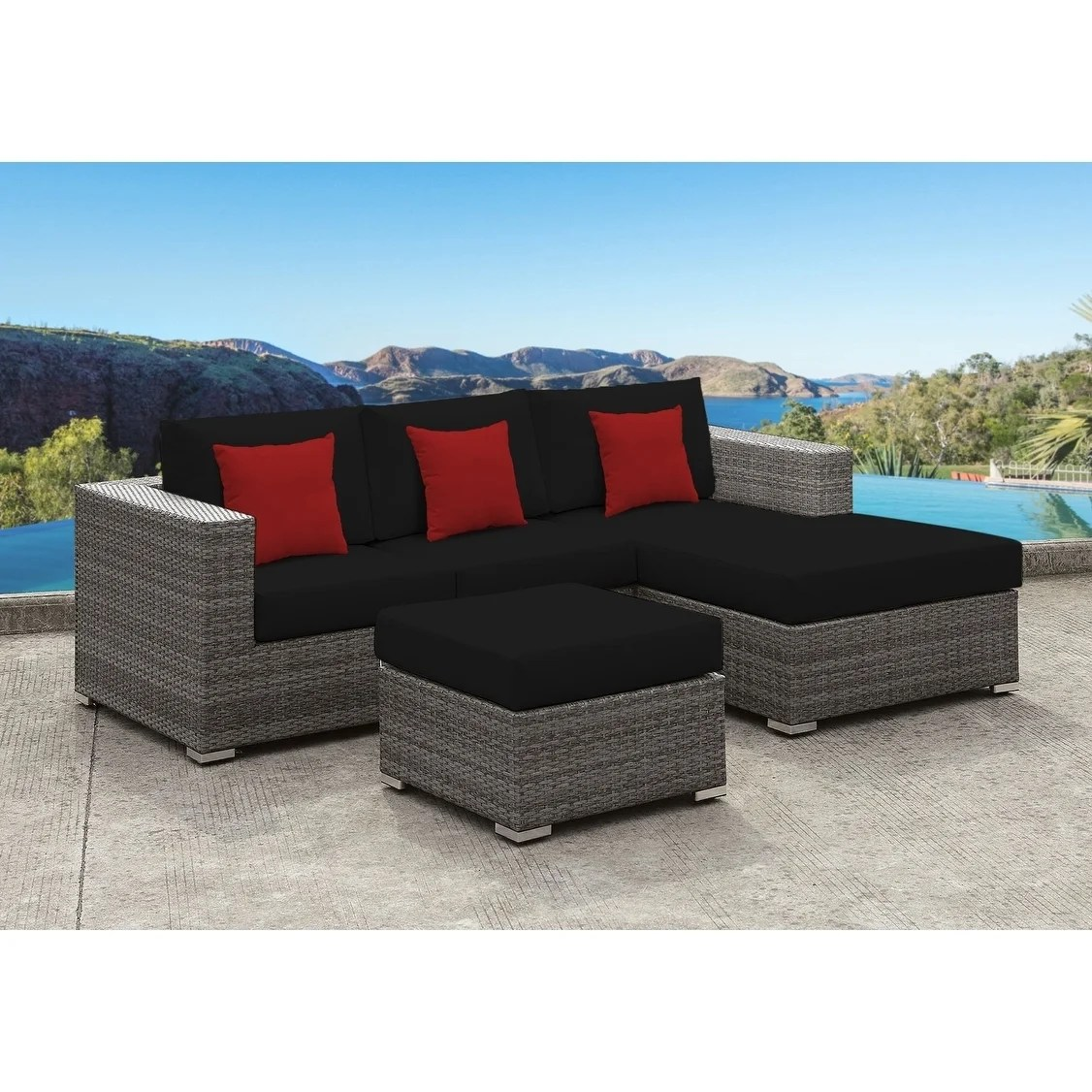 solis lusso 4 piece sectional patio set black cushions red pillows