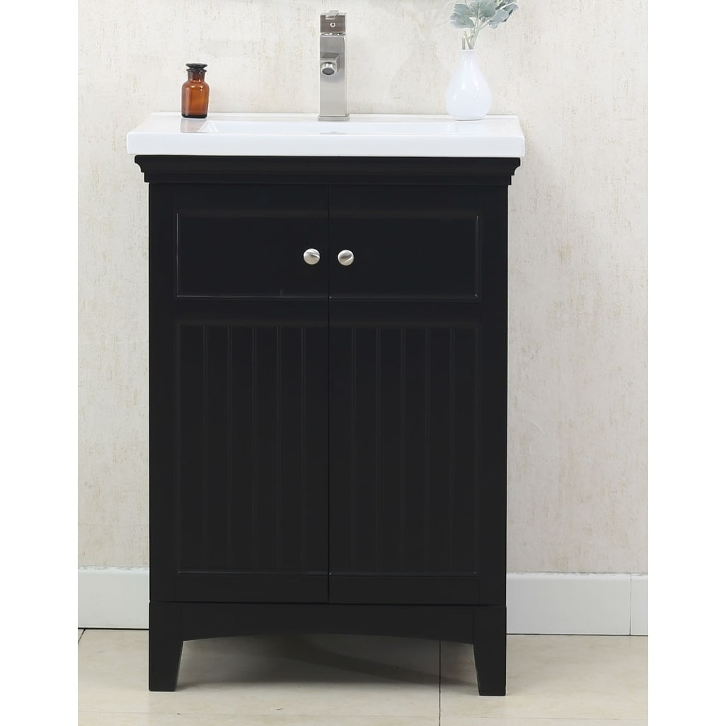 Legion Furniture Espresso Finish Wood Finish 24-inch Bathroom Vanity with Porcelain Top