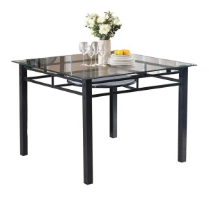 Home Source Grace Black Metal Square Glass Top Table with Lower Shelf - Metal/Glass