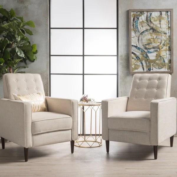 reclining club chair rattan garden covers shop mervynn mid century fabric recliner set of 2 by christopher knight