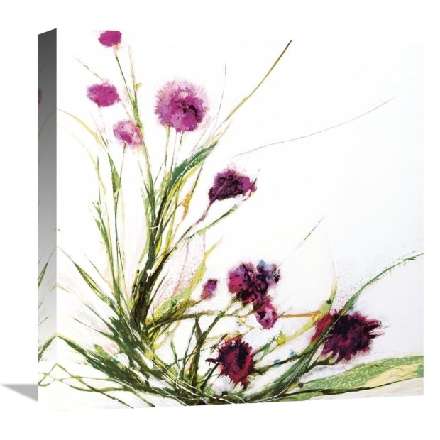 Global Gallery, Jan Griggs 'Flowers in the Wind on White' Stretched Canvas Artwork