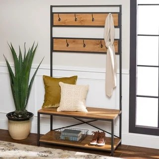 industrial living room furniture ceiling fan find great deals carbon loft geller 72 metal and wood hall tree barnwood