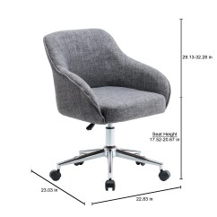 Tufted Desk Chair No Wheels Round Cuddle Porthos Home Upholstered Office With Switch Footers