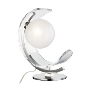 Mitzi by Hudson Valley Arden 1-light Polished Nickel Table Lamp, Clear Crackel Glass