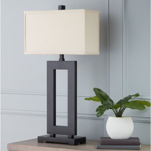 Strick & Bolton Mocha Metal Table Lamp with Cream Shade