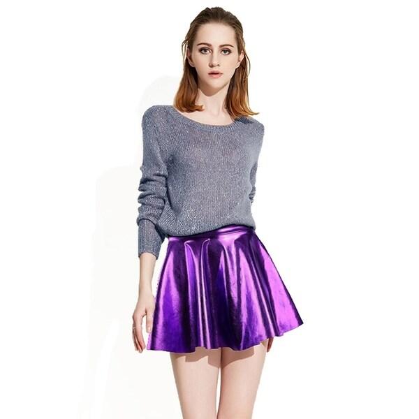 purple faux leather dresses