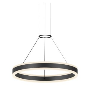Sonneman Lighting Double Corona Satin Black 24-inch LED Ring Pendant, Frosted White Shade