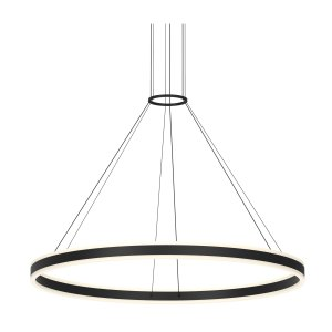 Sonneman Lighting Double Corona Bright Satin Aluminum 47-inch LED Ring Pendant, Frosted White Shade