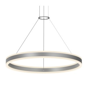 Sonneman Lighting Double Corona Bright Satin Aluminum 32-inch LED Ring Pendant, Frosted White Shade